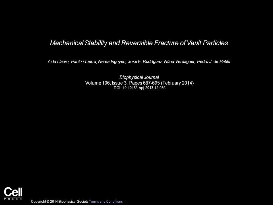 Mechanical Stability and Reversible Fracture of Vault Particles Aida Llauró, Pablo Guerra, Nerea Irigoyen, José F.