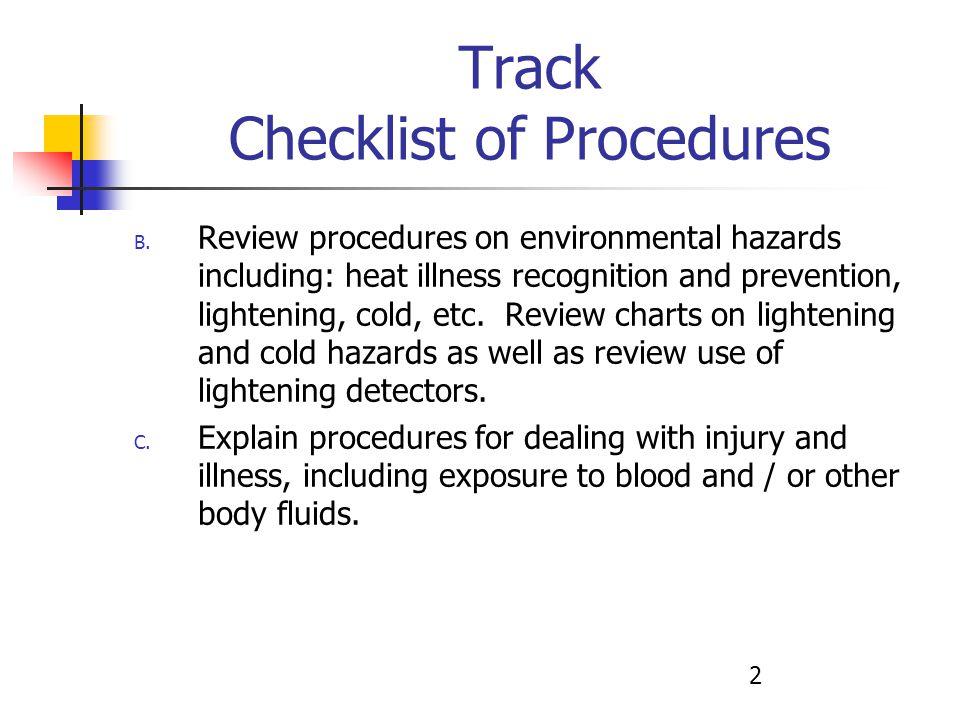 2 Track Checklist of Procedures B.