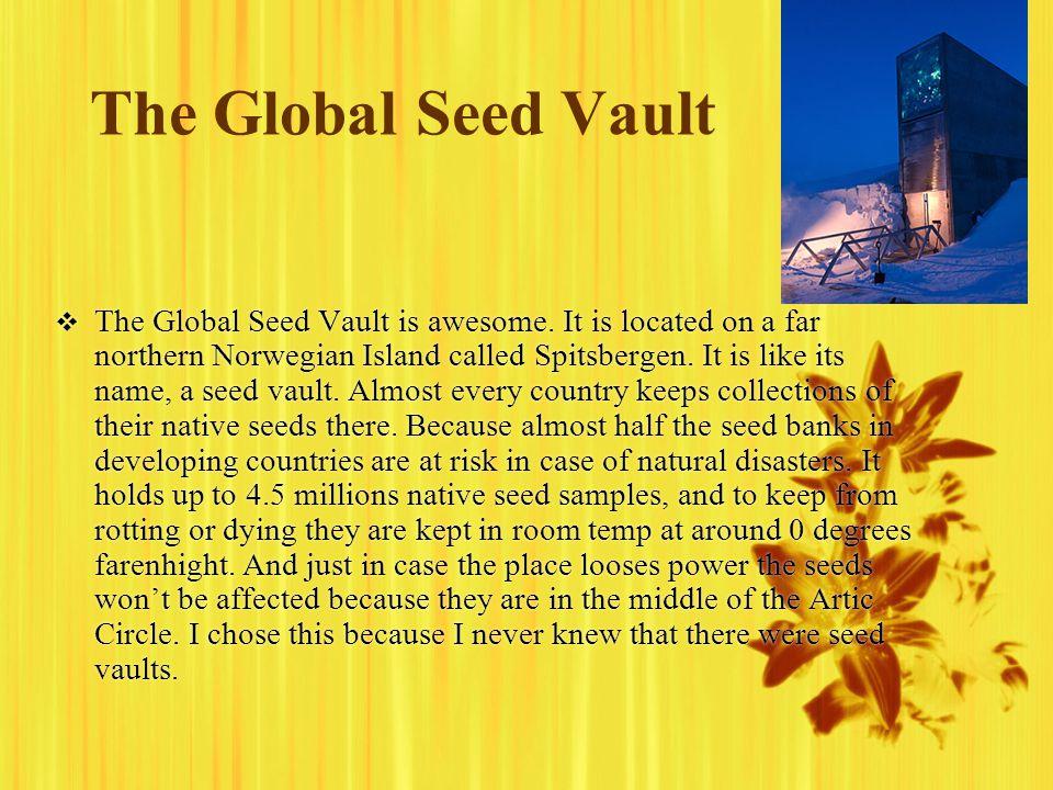 The Global Seed Vault  The Global Seed Vault is awesome.