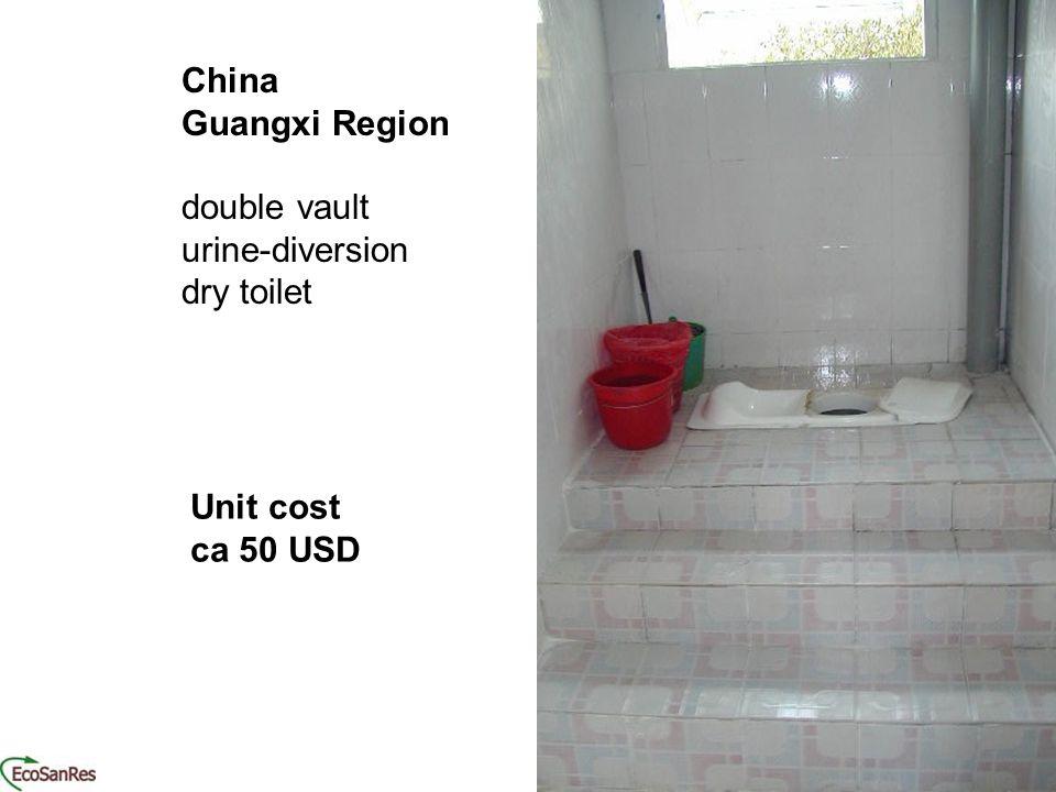 China Guangxi Region double vault urine-diversion dry toilet Unit cost ca 50 USD