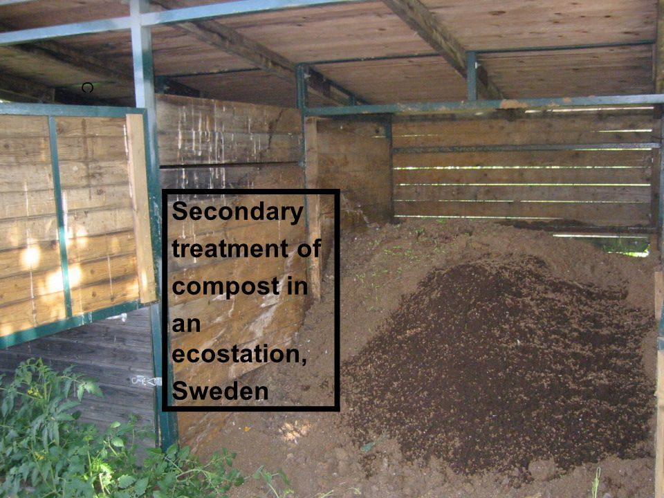 C Secondary treatment of compost in an ecostation, Sweden