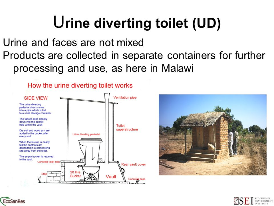 U rine diverting toilet (UD) Urine and faces are not mixed Products are collected in separate containers for further processing and use, as here in Malawi