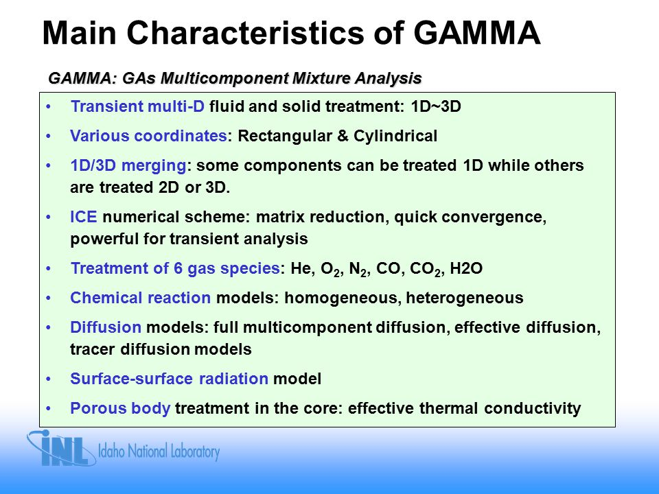 Main Characteristics of GAMMA GAMMA: GAs Multicomponent Mixture Analysis Transient multi-D fluid and solid treatment: 1D~3D Various coordinates: Rectangular & Cylindrical 1D/3D merging: some components can be treated 1D while others are treated 2D or 3D.