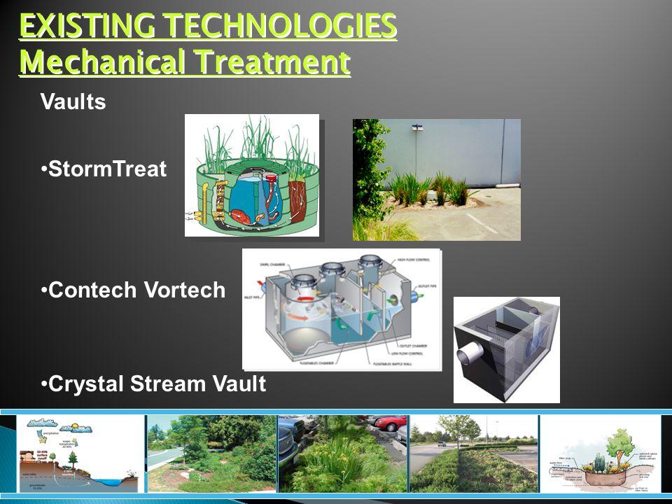 EXISTING TECHNOLOGIES Mechanical Treatment Vaults StormTreat Contech Vortech Crystal Stream Vault