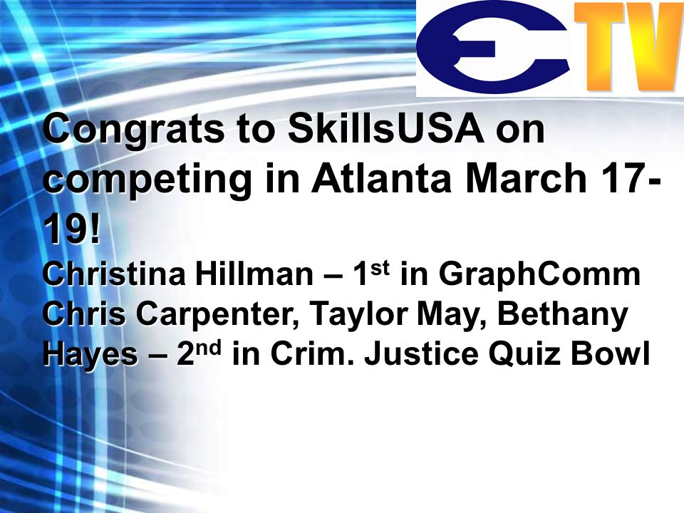Congrats to SkillsUSA on competing in Atlanta March 17- 19.