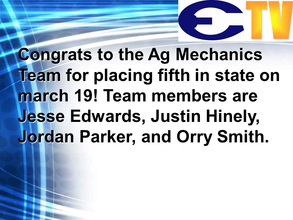 Congrats to the Ag Mechanics Team for placing fifth in state on march 19.