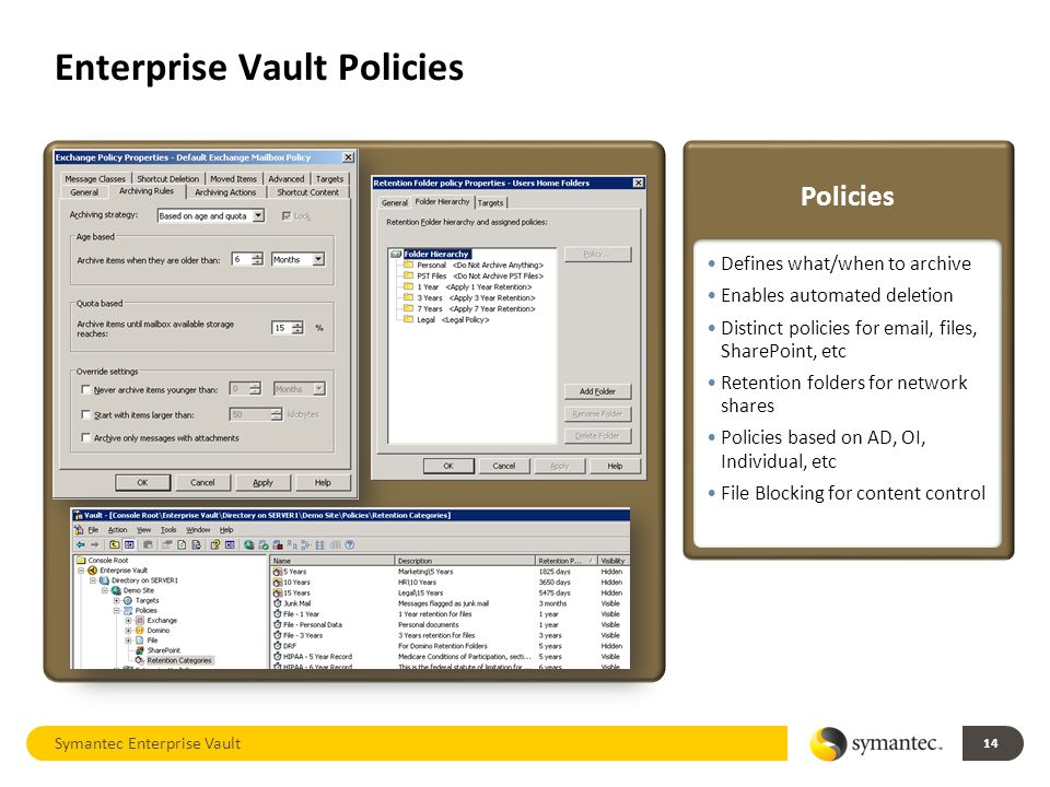 Enterprise Vault Policies 14 Symantec Enterprise Vault Defines what/when to archive Enables automated deletion Distinct policies for email, files, SharePoint, etc Retention folders for network shares Policies based on AD, OI, Individual, etc File Blocking for content control Policies