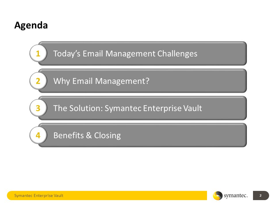 Agenda Symantec Enterprise Vault 2 Today's Email Management Challenges 1 Why Email Management.