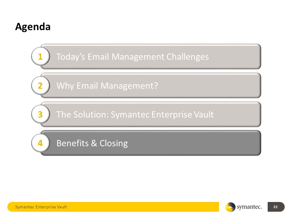 Agenda Symantec Enterprise Vault 22 Today's Email Management Challenges 1 Why Email Management.