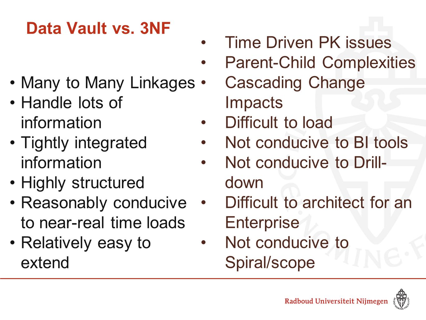 Data Vault vs. 3NF Many to Many Linkages Handle lots of information Tightly integrated information Highly structured Reasonably conducive to near-real