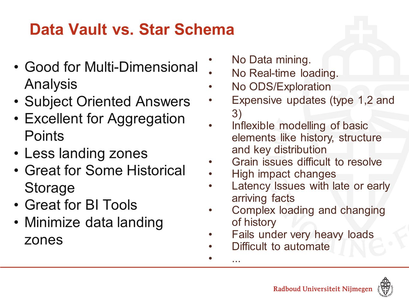 Data Vault vs. Star Schema Good for Multi-Dimensional Analysis Subject Oriented Answers Excellent for Aggregation Points Less landing zones Great for