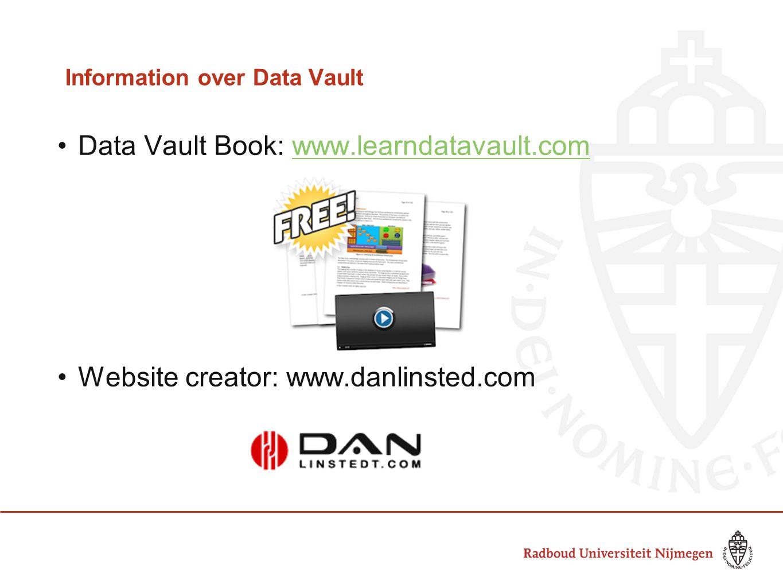 Information over Data Vault Data Vault Book: www.learndatavault.comwww.learndatavault.com Website creator: www.danlinsted.com