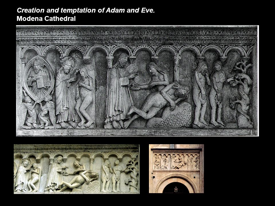 Creation and temptation of Adam and Eve. Modena Cathedral