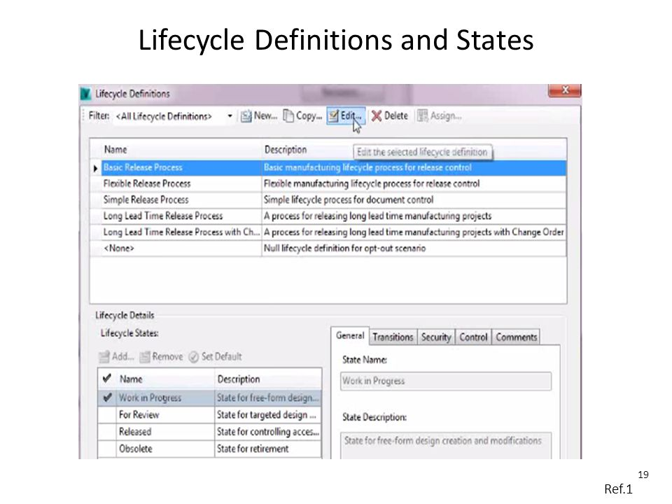 Lifecycle Definitions and States Ref.1 19