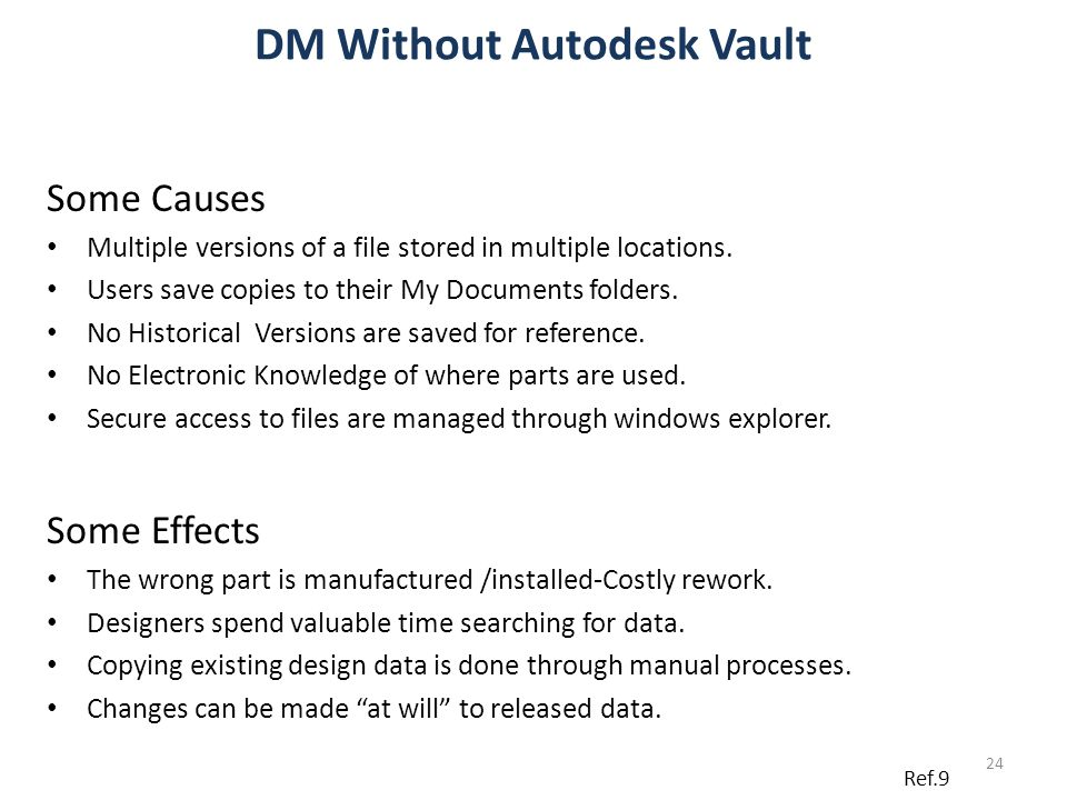 DM Without Autodesk Vault Some Causes Multiple versions of a file stored in multiple locations. Users save copies to their My Documents folders. No Hi