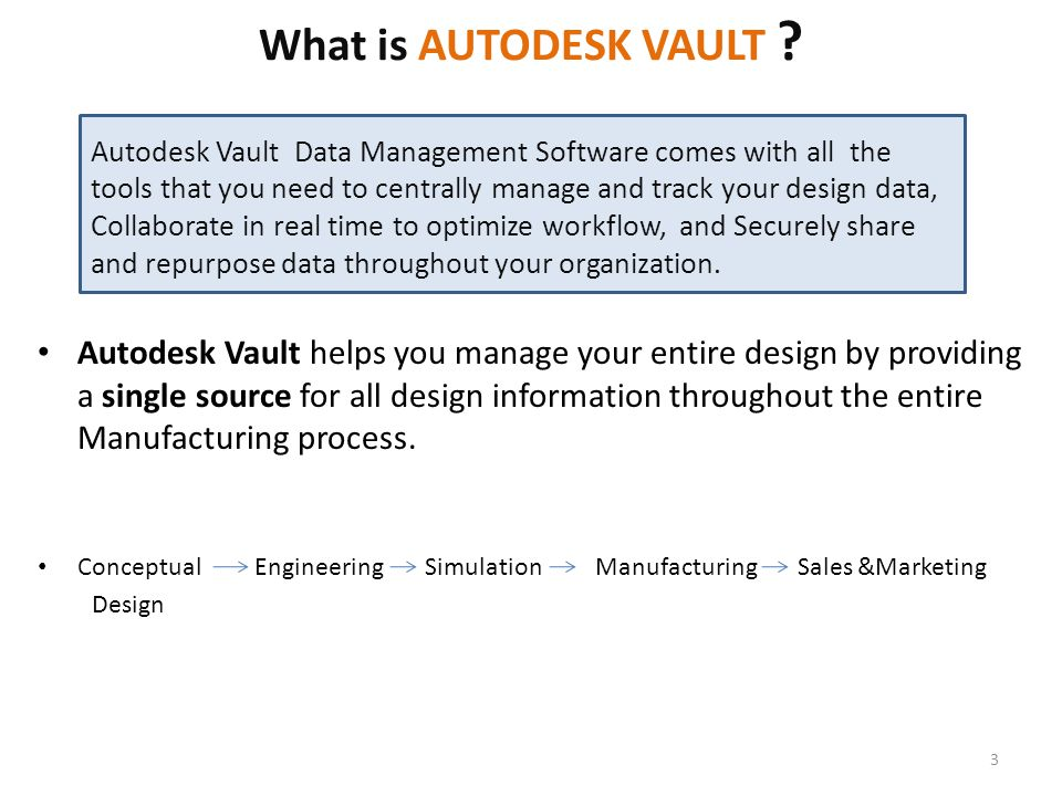 What is AUTODESK VAULT ? Autodesk Vault helps you manage your entire design by providing a single source for all design information throughout the ent