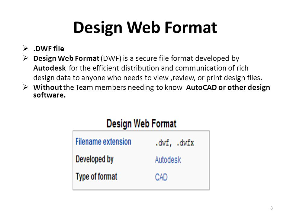 Design Web Format .DWF file  Design Web Format (DWF) is a secure file format developed by Autodesk for the efficient distribution and communication