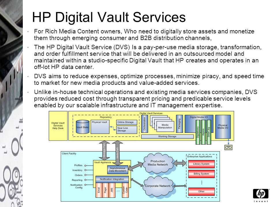 HP Digital Vault Services For Rich Media Content owners, Who need to digitally store assets and monetize them through emerging consumer and B2B distribution channels, The HP Digital Vault Service (DVS) Is a pay-per-use media storage, transformation, and order fulfillment service that will be delivered in an outsourced model and maintained within a studio-specific Digital Vault that HP creates and operates in an off-lot HP data center.