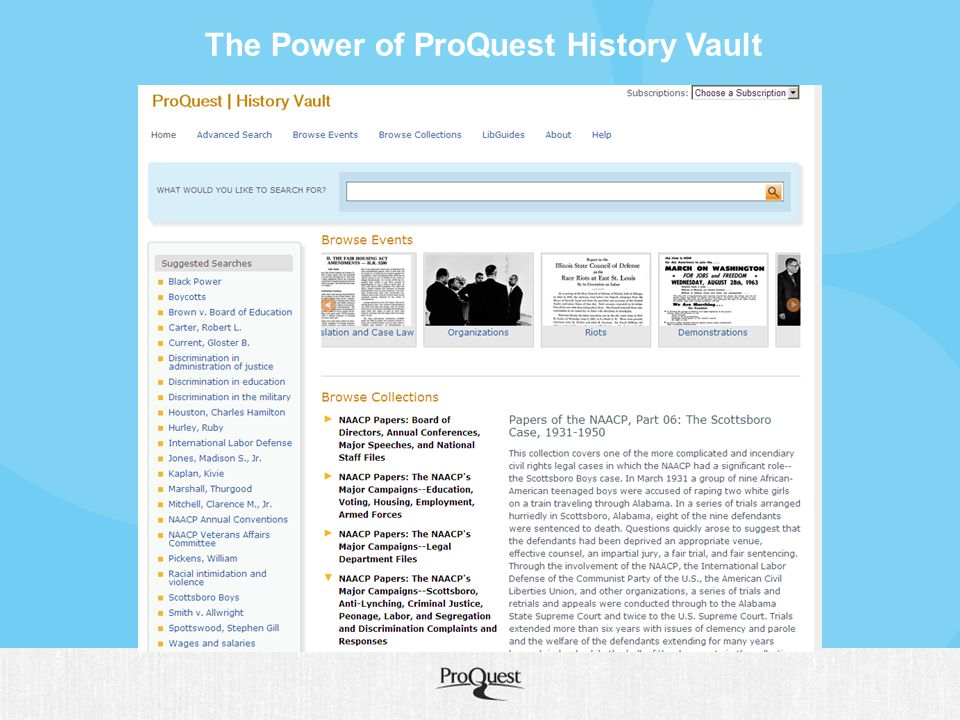 The Power of ProQuest History Vault