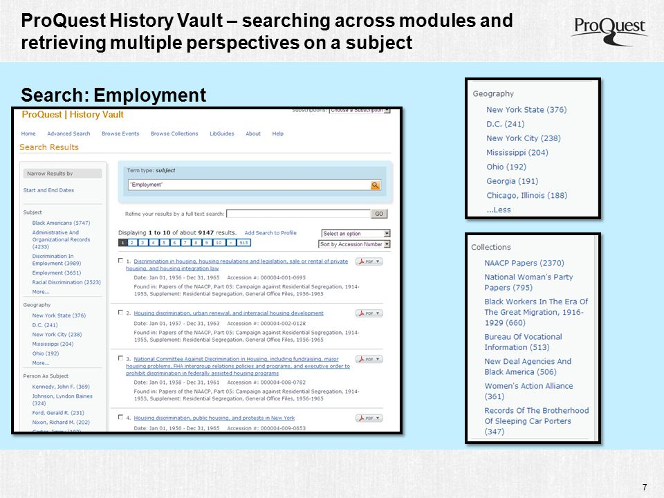 8 ProQuest History Vault – searching across modules and retrieving multiple perspectives on a subject Search: Demonstrations, pickets, and boycotts