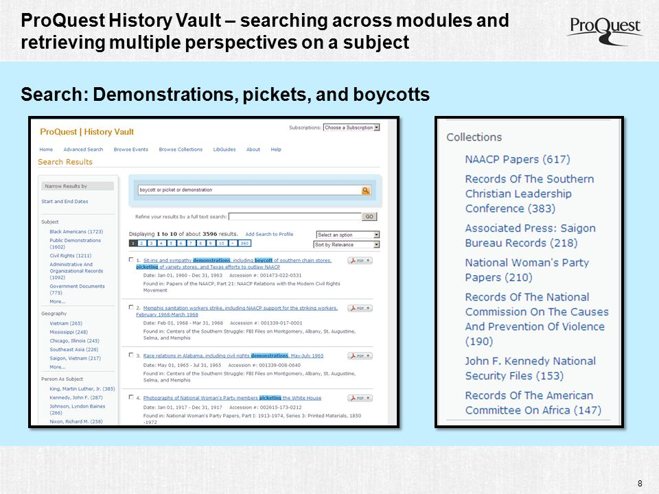 9 ProQuest History Vault – searching across modules and retrieving multiple perspectives on a subject Search: Divorce