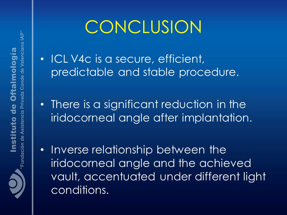 CONCLUSION ICL V4c is a secure, efficient, predictable and stable procedure.