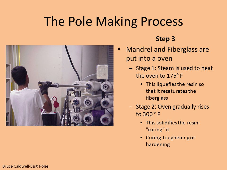 The Pole Making Process Step 3 Mandrel and Fiberglass are put into a oven – Stage 1: Steam is used to heat the oven to 175° F This liquefies the resin