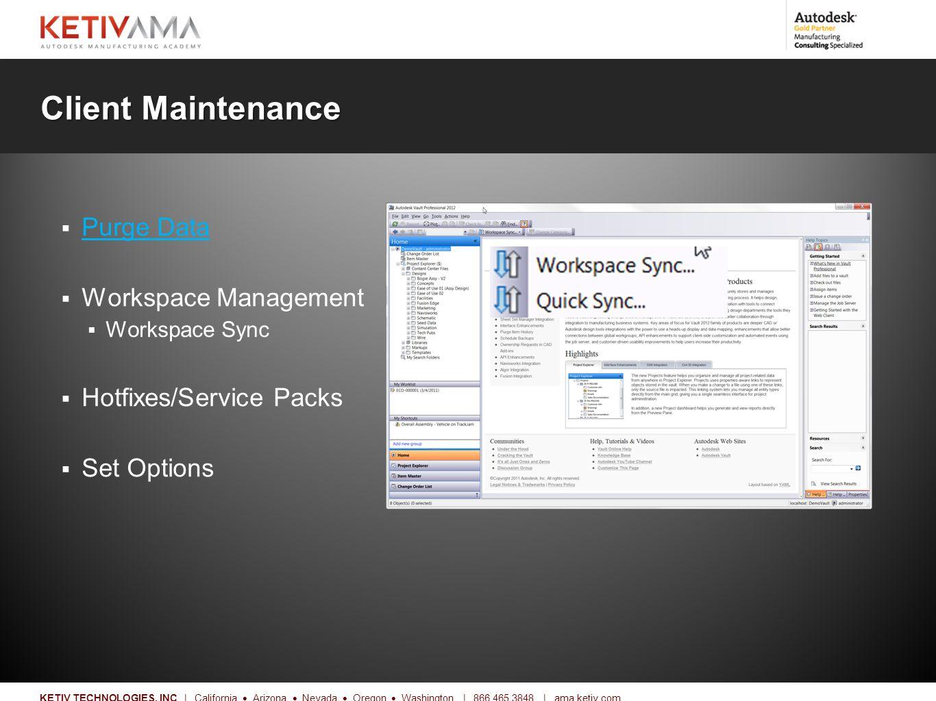 Title KETIV TECHNOLOGIES, INC   California  Arizona  Nevada  Oregon  Washington   866.465.3848   ama.ketiv.com Client Maintenance  Purge Data Purge Data  Workspace Management  Workspace Sync  Hotfixes/Service Packs  Set Options