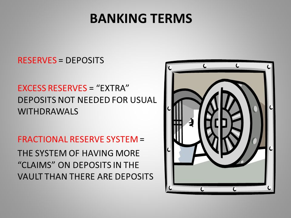 BANKING TERMS RESERVES = DEPOSITS EXCESS RESERVES = EXTRA DEPOSITS NOT NEEDED FOR USUAL WITHDRAWALS FRACTIONAL RESERVE SYSTEM = THE SYSTEM OF HAVING MORE CLAIMS ON DEPOSITS IN THE VAULT THAN THERE ARE DEPOSITS