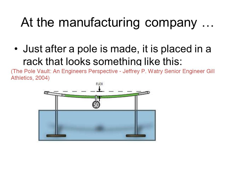 At the manufacturing company … Just after a pole is made, it is placed in a rack that looks something like this:
