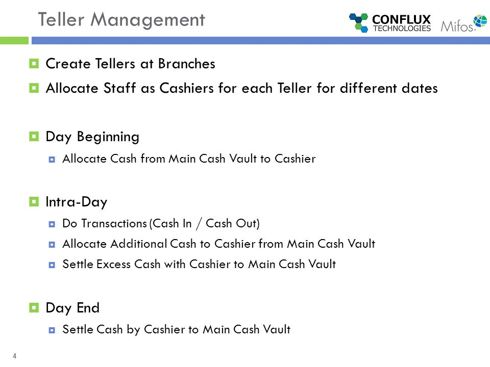 4 Teller Management  Create Tellers at Branches  Allocate Staff as Cashiers for each Teller for different dates  Day Beginning  Allocate Cash from