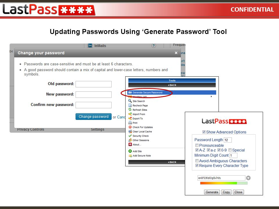 CONFIDENTIAL Updating Passwords Using 'Generate Password' Tool