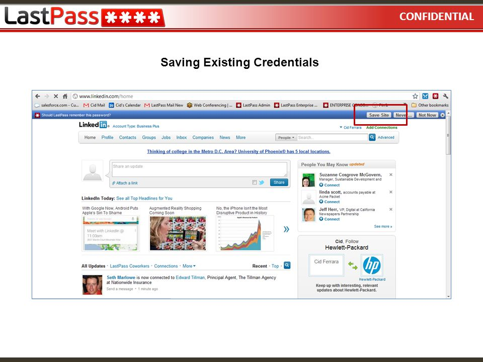 CONFIDENTIAL Saving Existing Credentials