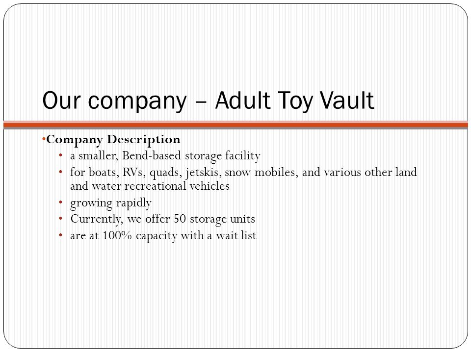Adult Toy Vault's Problem: Problem Description handle the rapidly growing customer base with expanding facilities.