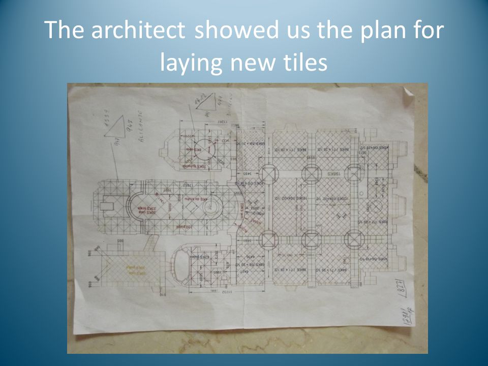 The architect showed us the plan for laying new tiles