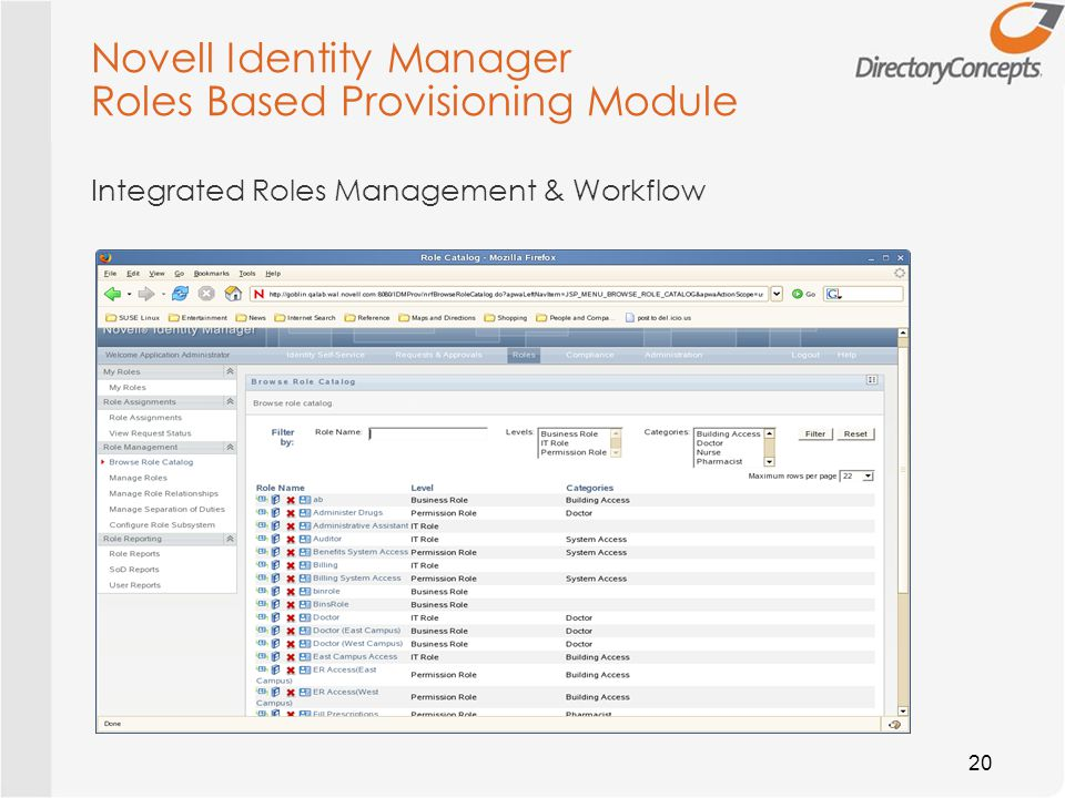 Novell Identity Manager Roles Based Provisioning Module 20 Integrated Roles Management & Workflow
