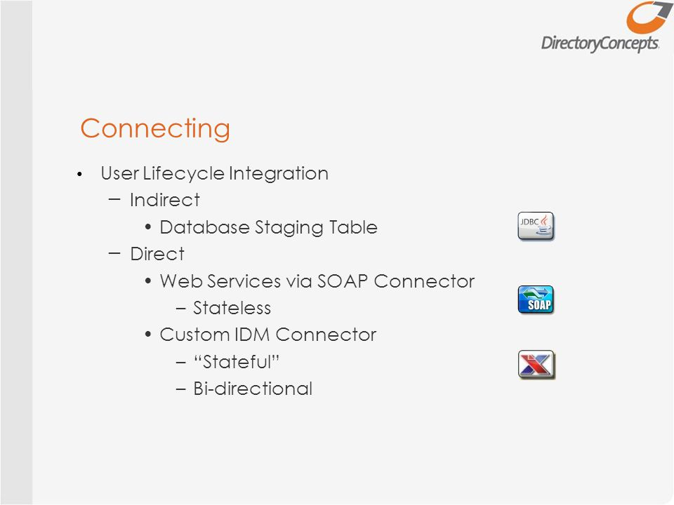 Connecting User Lifecycle Integration ─ Indirect Database Staging Table ─ Direct Web Services via SOAP Connector –Stateless Custom IDM Connector – Stateful –Bi-directional