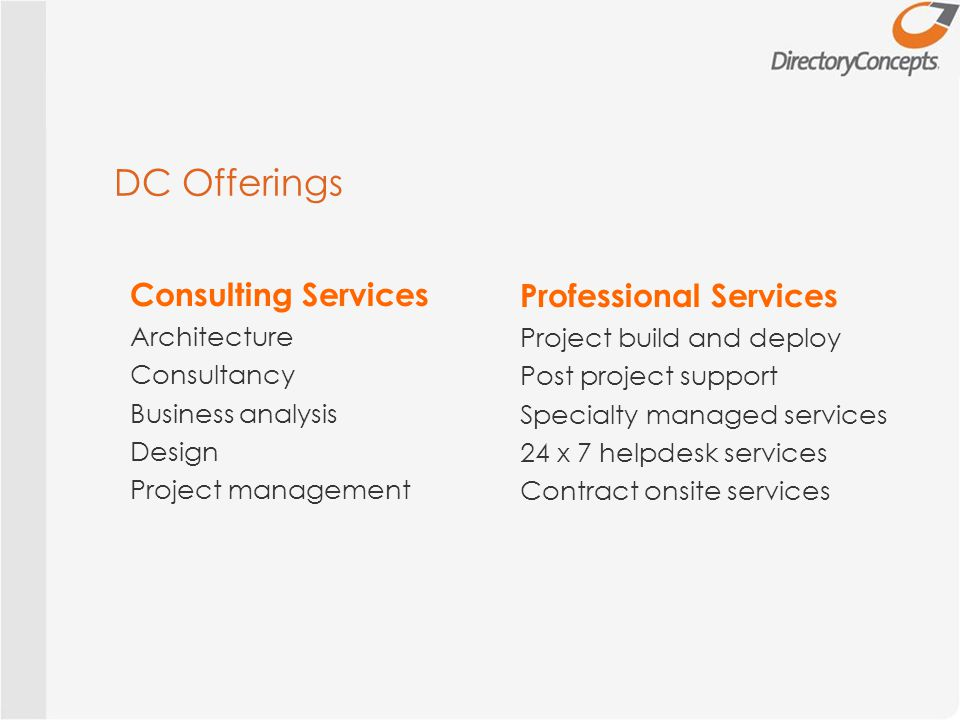 DC Offerings Consulting Services Architecture Consultancy Business analysis Design Project management Professional Services Project build and deploy Post project support Specialty managed services 24 x 7 helpdesk services Contract onsite services