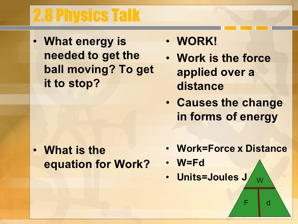 2.8 Physics Talk What energy is needed to get the ball moving.