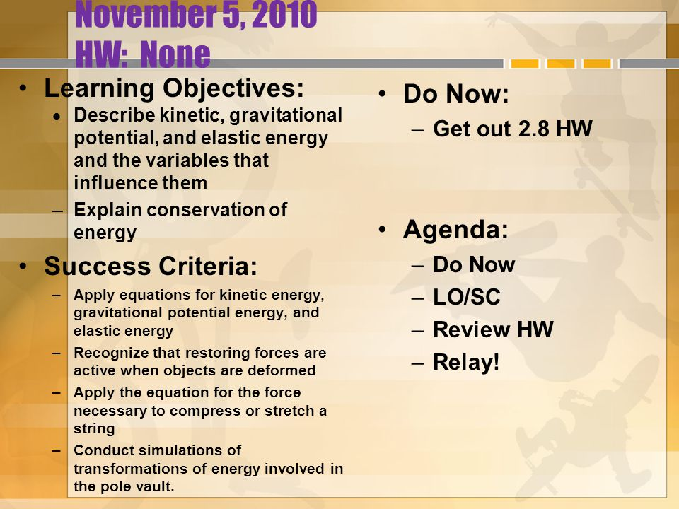 November 5, 2010 HW: None Learning Objectives:  Describe kinetic, gravitational potential, and elastic energy and the variables that influence them –Explain conservation of energy Success Criteria: –Apply equations for kinetic energy, gravitational potential energy, and elastic energy –Recognize that restoring forces are active when objects are deformed –Apply the equation for the force necessary to compress or stretch a string –Conduct simulations of transformations of energy involved in the pole vault.
