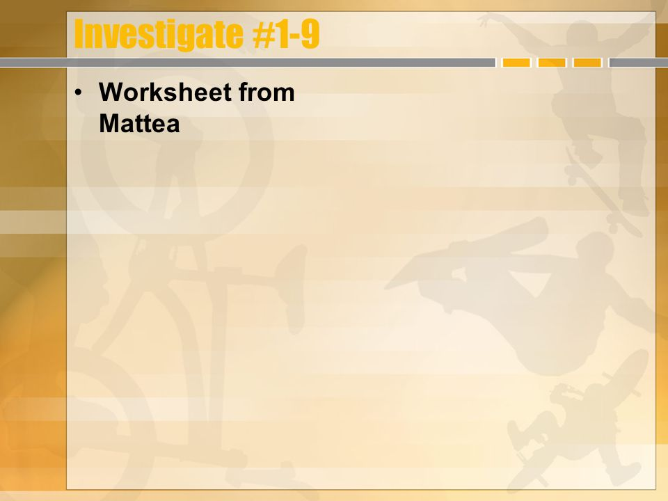Investigate #1-9 Worksheet from Mattea