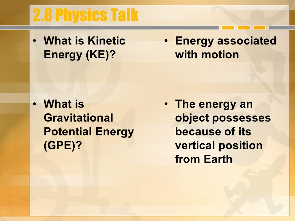 November 4, 2010 HW: 2.8 PTG #1, 2, 3, 6, 7, 8, 13, Due Friday Learning Objectives:  Describe kinetic, gravitational potential, and elastic energy and the variables that influence them –Explain conservation of energy Success Criteria: –Apply equations for kinetic energy, gravitational potential energy, and elastic energy –Recognize that restoring forces are active when objects are deformed –Apply the equation for the force necessary to compress or stretch a string –Conduct simulations of transformations of energy involved in the pole vault.