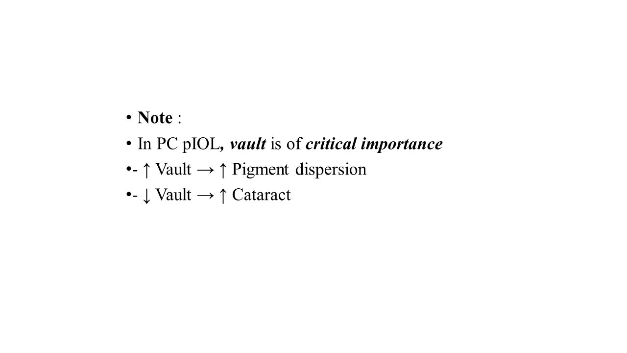 Note : In PC pIOL, vault is of critical importance - ↑ Vault → ↑ Pigment dispersion - ↓ Vault → ↑ Cataract