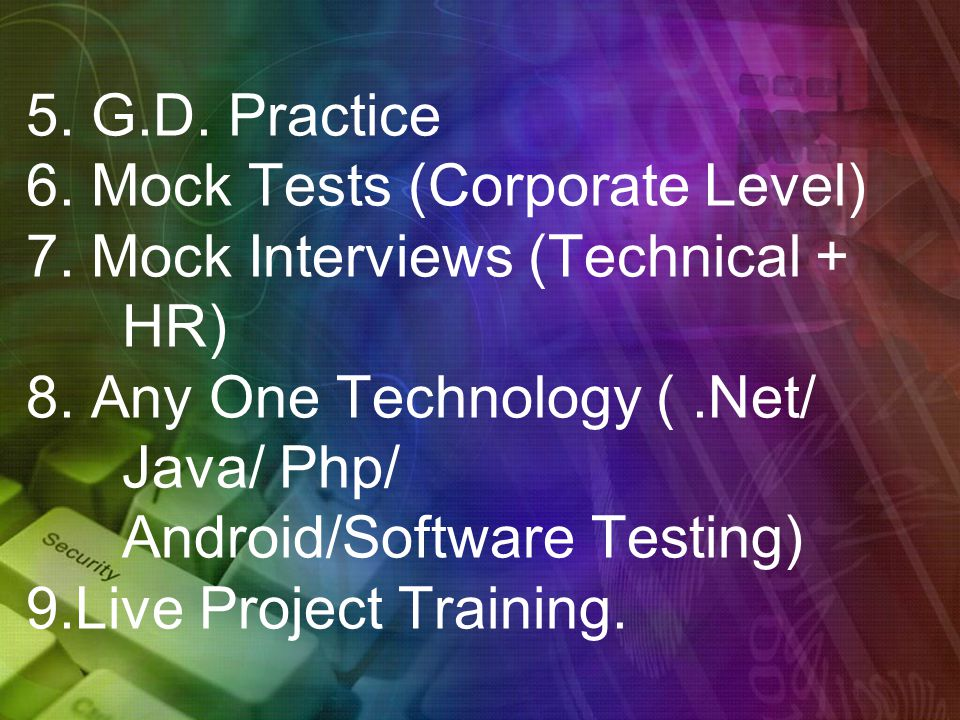 5. G.D. Practice 6. Mock Tests (Corporate Level) 7.