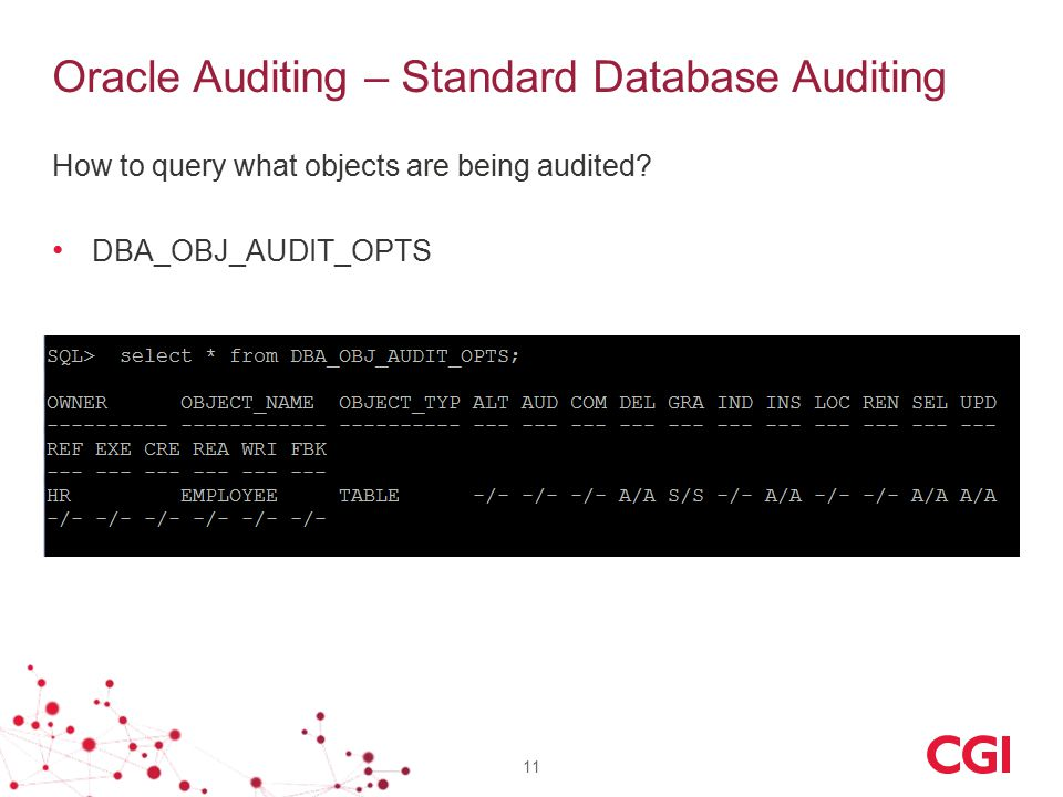 Oracle Auditing – Standard Database Auditing How to query what objects are being audited.