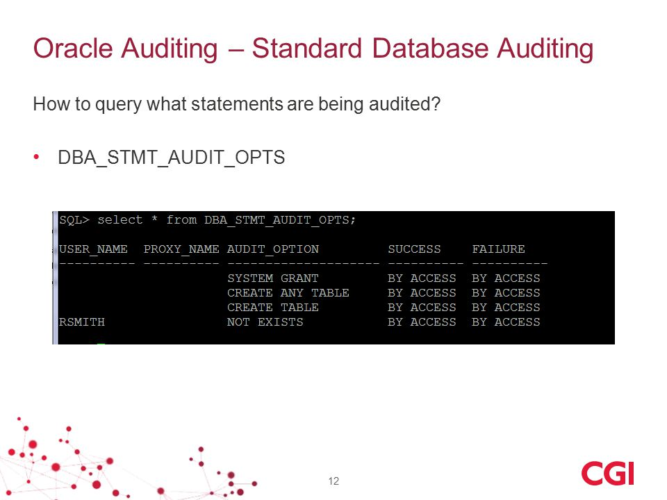 Oracle Auditing – Standard Database Auditing How to query what statements are being audited? DBA_STMT_AUDIT_OPTS 12
