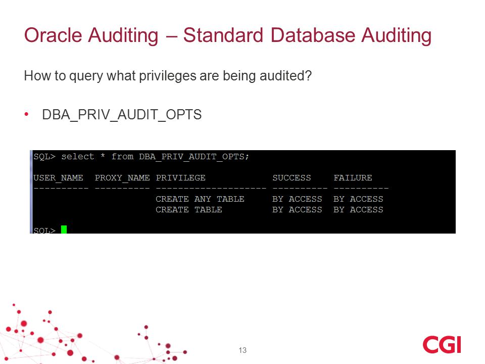 Oracle Auditing – Standard Database Auditing How to query what privileges are being audited? DBA_PRIV_AUDIT_OPTS 13