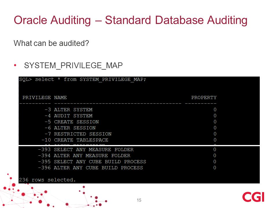 Oracle Auditing – Standard Database Auditing What can be audited? SYSTEM_PRIVILEGE_MAP 15