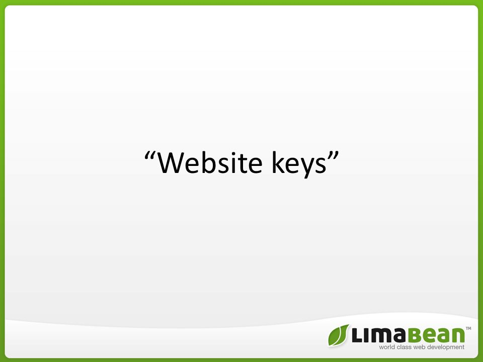 Website keys