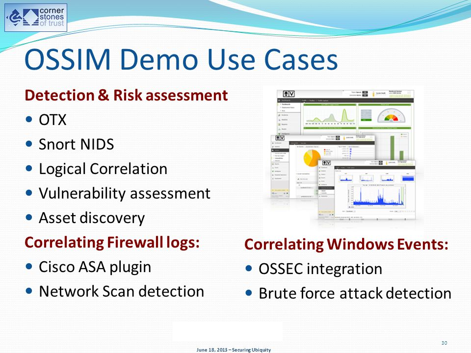 OSSIM Demo Use Cases Detection & Risk assessment OTX Snort NIDS Logical Correlation Vulnerability assessment Asset discovery Correlating Firewall logs